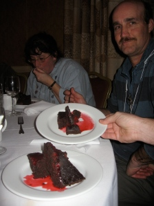 Chocolate raspberry torte at the Friday night banquet!
